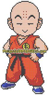 Krilin Dragon Ball Hama Beads pattern - MeGustaHAMABEADS.com