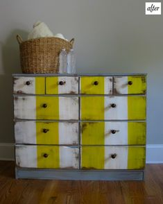 about to do this to the dresser we just bought at the Thrift! Even though yellow is my least favorite color to put with white and gray, I think this dresser looks perfect.