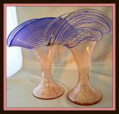 art glass fan vases