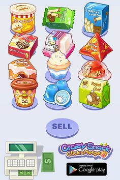 Do you love snacks? Create your snack shop on to earn money! Buy, merge and manage your snacks to get more new snacks! Put snacks on the shelf and attract guests! Upgrad your shop and become the king of snacks! Build your snacks empire now! Chibi, Cleaning Wooden Floors, Manga, Kawaii, Shops, Snacks, Creative Industries, Empire, Cute Drawings