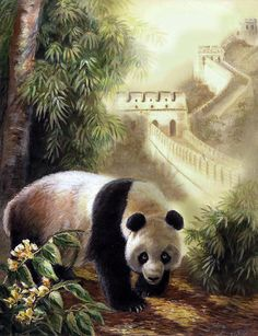 Panda with the freat wall of China painting by Gina Femrite - Panda with the great wall of china fine art prints and posters for sale Chinese Artwork, Panda Art, Cute Easy Drawings, Panda Love, Great Wall Of China, China Painting, Animation, Sale Poster, Wildlife Art