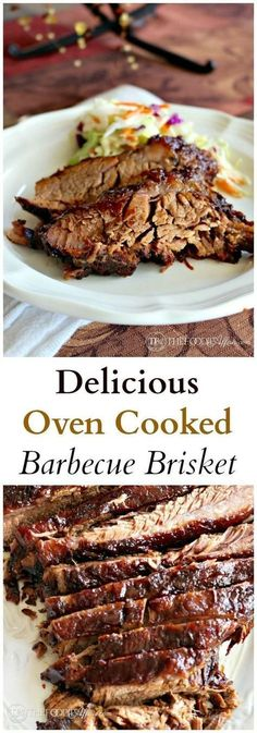 Delicious Oven Cooked Barbecue Brisket marinated overnight in liquid smoke and then slow cooked to perfection! Your family is going to LOVE this dinner recipe! Great for entertaining as well.