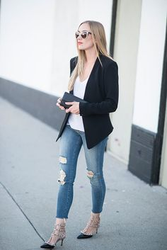 Kimberly of @eatsleepwear shared her Neiman Marcus Summer Style must-haves like this Rag and Bone blazer and these Valentino rockstud heels. #paypalit