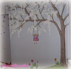 ArtyCraftyCathy: Waiting for BABY SPRING Painting Wallpaper, Wall Wallpaper, Waiting For Baby, Wall Murals, Wall Art, Nursery School, Tree Wall, Arts And Crafts, My Arts