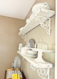 Shabby chic DIY shelving. (with those pretty brackets like at anthro) (scheduled via http://www.tailwindapp.com?utm_source=pinterest&utm_medium=twpin)
