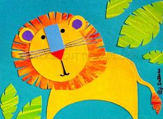 Lion art Original Jungle art Kids art by JackieGuttusoDesigns, $30.00