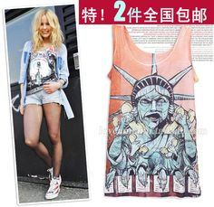 2 2013 summer new wave of people graffiti mash sleeveless t shirt printing Korean version of the influx of women