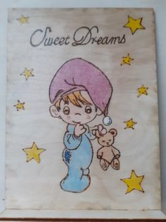 Talpas tábla 2oldalas Piográf + akvarell 15x20cm Sweet dream Pyrography, Sweet Dreams, Diy, Fictional Characters, Bricolage, Do It Yourself, Fantasy Characters, Homemade, Woodburning