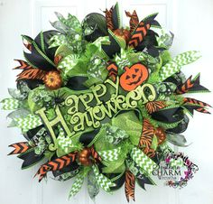 Deco Mesh Happy Halloween Wreath Glittered by SouthernCharmWreaths, $77.00