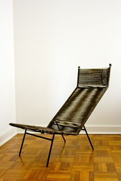 Clement Meadmore; Enameled Metal and Cord 'String' Chair, 1950s.