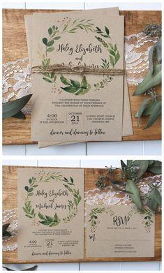 Rustikale Hochzeitseinladung. Grün Hochzeitseinladung #Hochzeitseinladung