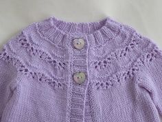 Baby girl's lilac cardigan with lacy yoke hand knit baby