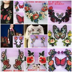 Patches Embroidery butterfly flower cloth Applique accessory coat Jean T-shirt