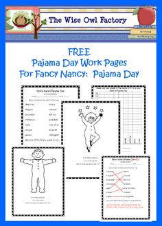 free printable for pajama day, 10 pages, Fancy Nancy, Pajama Day work page graph and key, vocabulary