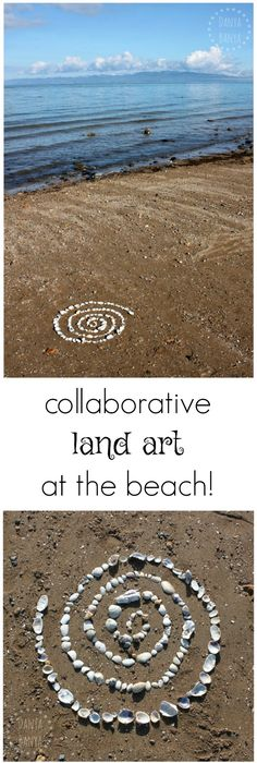 Shell spiral - create collaborative land art with kids at the the beach. Great way to slow down and appreciate nature and the natural landscape. Beach Activities, Nature Activities, Creative Activities, Activities For Kids, Outdoor Activities, Land Art, Nature Beach, All Nature, Ocean Beach