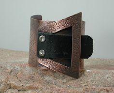 Copper and Leather Cuff Bracelet Hammer by SilverSeahorseDesign, via Etsy