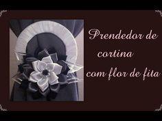 Prendedor de cortina com flor de fita de cetim / Catch curtain with flower satin ribbon - YouTube