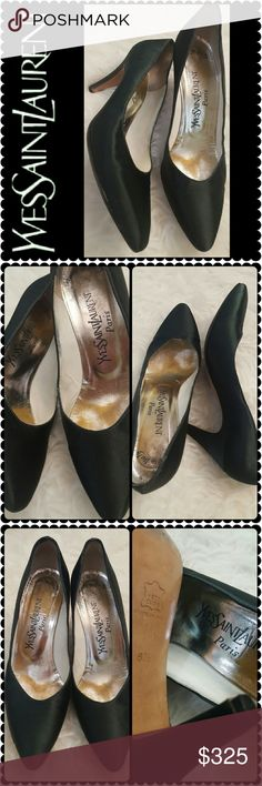Yves Saint Laurent Paris Satin Pumps YSL Paris Designer Shoes, Classic Elegance in a Saint Laurent Black Satin Pumps! Semi Pointed Toe with about 3 inches Heels!  Made in Italy with Tonal Stitching Throughout and Covered Heels, Used in Very Good Condition, Size Shows 8.5 M. Shoes Heels