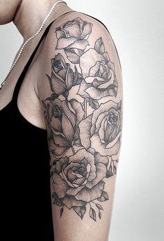 Flowers Roses Dotwork Tattoo