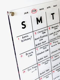 Gorgeous acrylic calendars that are made to last by GirlFridayAcrylics Calendar Notes, Dry Erase Calendar, Diy Calendar, Family Calendar Wall, Home Office Organization, Home Office Decor, Office Ideas, Home Command Center, Design Studio Office