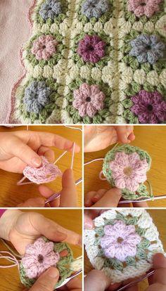 Puff Flower Blanket Free Crochet Pattern Tutorial