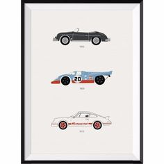 The Porsche Car Collection Print   Rear View Prints   Wolf & Badger / Homeware / Home Decoration / Prints