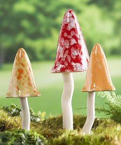 Another great find on #zulily! Red & Gold Tinkling Toadstool Outdoor Ornament Set #zulilyfinds