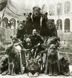 Animal Tamer Captain Jack Bonavita sitting down with some of his cats ca. 1870s Ringling Brothers Circus, Lion Tamer, Original Image, Send In The Clowns, Vintage Circus, Sideshow, The Magicians, Altered Art, Printable Art