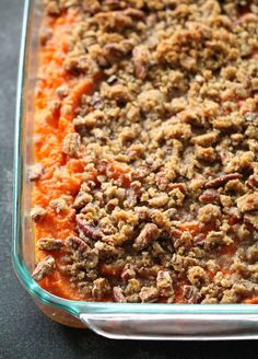 Sweet Potato Casserole has a mashed sweet potato base and is topped with a buttery, brown sugar and pecan topping. Perfect for Thanksgiving! Good Sweet Potato Recipe, Best Sweet Potato Casserole, Sweet Potato Pecan, Potatoe Casserole Recipes, Sweet Potato Recipes, Bacon Recipes, Casserole Dishes, Veggie Recipes, Thanksgiving Recipes