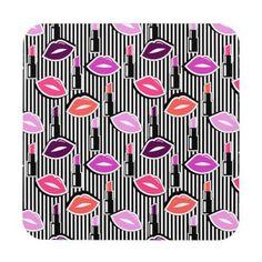 #stripes - #Lips & Lipstick | Black & White Stripes Drink Coaster