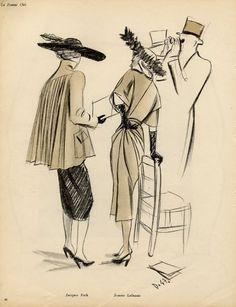 Delfau 1947 Jacques Fath & Jeanne Lafaurie Fashion Illustration