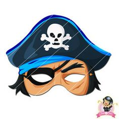 Childrens Printable Pirate Mask - Blue | Simply Party Supplies Printable Masks, Printables, Half Mask, Printer Paper, Hole Punch, Print And Cut, Pirates, Yellow, Blue