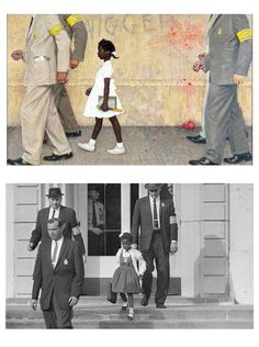 "I never realized the significance of this 1964 painting by Norman Rockwell ""The Problem We All Live With"". It's inspired by the photo of Ruby Bridges, the first African American to attend an all white elementary school in the South just integrated at age 6."
