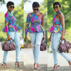 "152 Likes, 1 Comments - @tradstyles9ja on Instagram: ""@karenkashkane  Ankara Top: @sima_brew  Ankara Fabric: @gtp_fashion  Hand bag :…"""