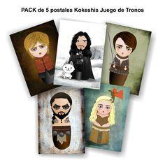Pack de 5 postales Kokeshis Juego de Tronos