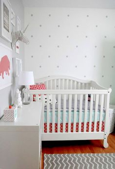 Eclectic Coral and Aqua Nursery - love the polka dot wall