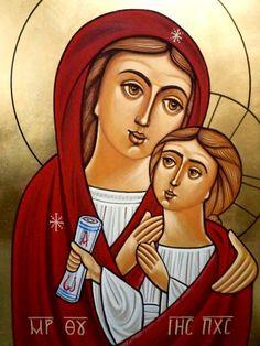 Theotokos (coptic) Religious Pictures, Religious Icons, Religious Art, Christian Pictures, Madonna And Child, Catholic Art, Art Icon, Orthodox Icons, Blessed Mother