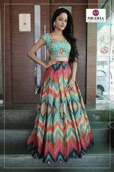 For every Southern girl, is the first auspicious occassion. Celebrating the grandeur of such an event is called a Indian Attire, Indian Outfits, Navratri Dress, Kurti Embroidery Design, Frock Fashion, Indian Gowns Dresses, Anarkali Dress, Lehenga Choli, Party Wear Lehenga