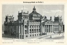 1895 Back-to-back Antique German Engraving of the Reichstag Building, Berlin, Germany