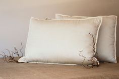 KING PILLOW, organic wool filled pillow with memory foam core, natural, handmade, ecofriendly, beige sateen covered