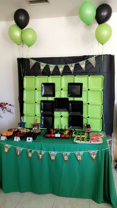Minecraft birthday, Minecraft party ideas,Minecraft birthday party decorations, Minecraft party ideas, Minecraft cake table, Minecraft banner, Minecraft backdrop, Minecraft creeper,Minecraft dessert ideas, Minecraft party decor, Minecraft party decor, Minecraft candy table