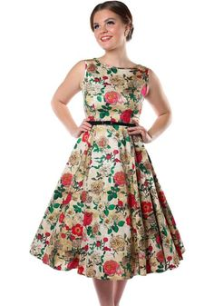 Antique Rose Hepburn, kellomekko - https://www.misswindyshop.com #dress #vintage #fifties #circledress #petticoat #floral