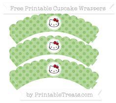 Free Pistachio Green Polka Dot  Hello Kitty Scalloped Cupcake Wrappers