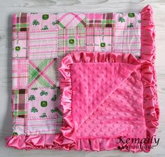 Made With Pink John Deere Fabric Satin Ruffle Blanket by Kemaily, $26.95