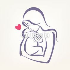 Vector: mom and baby stylized vector symbol, outlined sketch