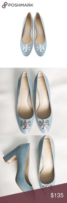 """Tory Burch Leather Logo Pump Baby Blue The pump features an inlaid logo medallion and gilt trim for a touch of signature polish. With its classic silhouette, this refined style is sure to be in heavy rotation throughout the week. New. True to size. Heels about 3"""". Leather upper, lining and sole. Flaws: exterior scuffs and tiny discoloration on the inner side of the right shoe. (All flaws r not noticeable unless look very closely. See last photo.) Tory Burch Shoes Heels"""