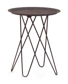 Punk Side Table Rusted metal frame with Black top - Scout & Nimble