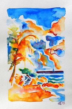 """Barbados, Watercolor, 8""""x11"""" $250 USD (Original). Available December 2013."""