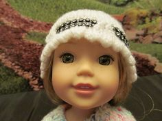 Hand Knit Hat to Fit 14'' or 14.5'' Dolls ,White Hat with Scalloped Edge,Outdoor Winter Wear,Black Plastic Rhinestone Inset,Fun Hat for Fall by SewManyThingsbyNancy on Etsy