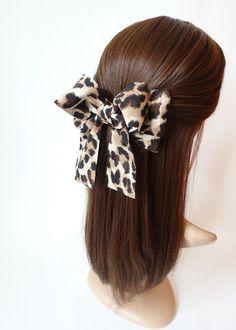 Handmade Hair Accessories Animal Print Leopard Bow Clip French Barrettes  #VeryShine #Barrettes